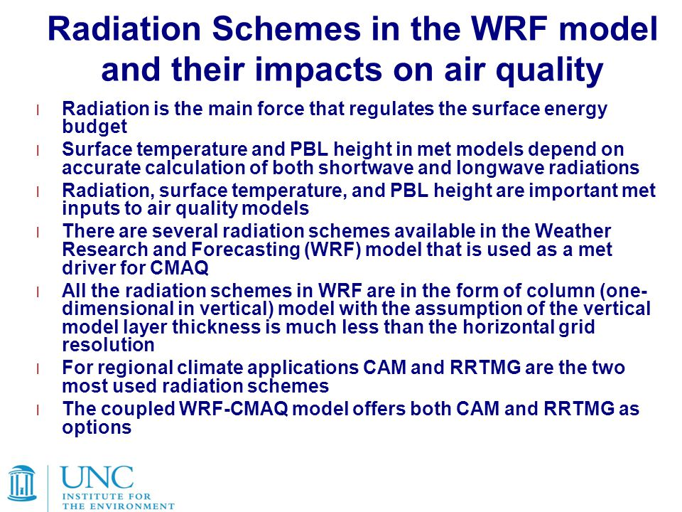 Radiation Schemes in the WRF model and their impacts on air quality