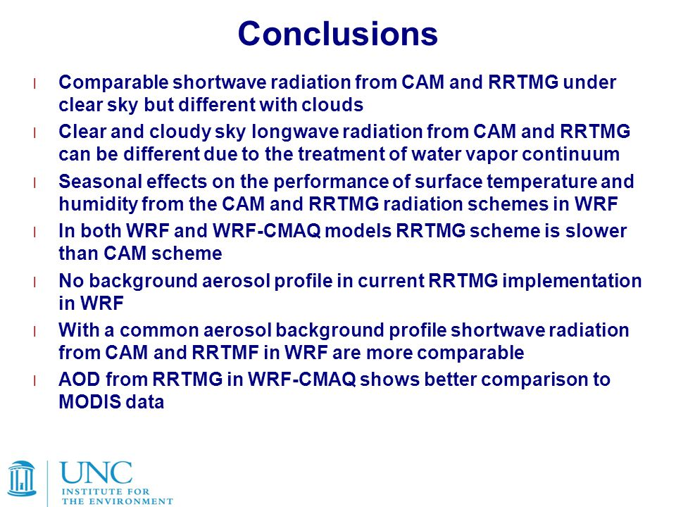 Conclusions Comparable shortwave radiation from CAM and RRTMG under clear sky but different with clouds.