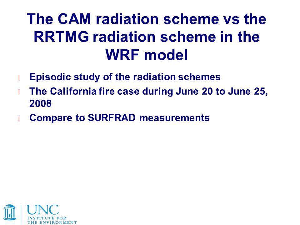 The CAM radiation scheme vs the RRTMG radiation scheme in the WRF model