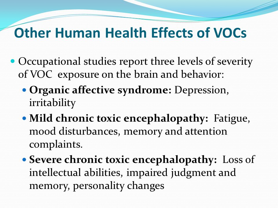 Other Human Health Effects of VOCs