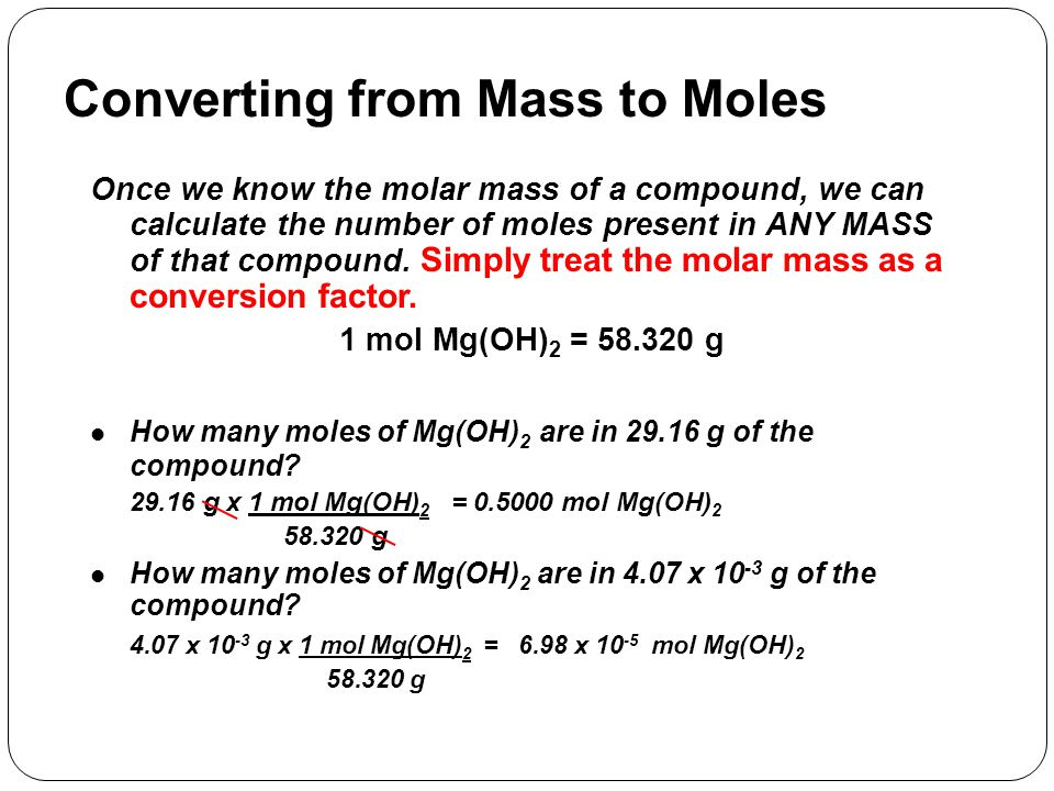 Converting from Mass to Moles