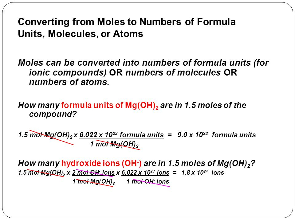 Converting from Moles to Numbers of Formula Units, Molecules, or Atoms