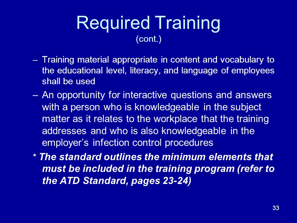 Required Training (cont.)