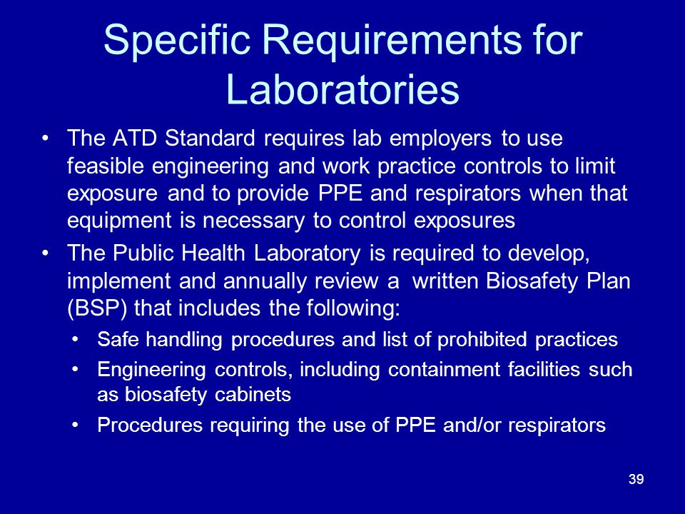 Specific Requirements for Laboratories