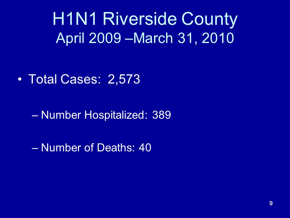 H1N1 Riverside County April 2009 –March 31, 2010