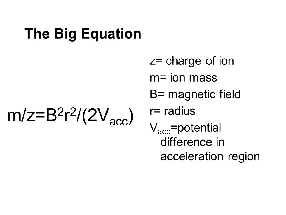 m/z=B2r2/(2Vacc) The Big Equation z= charge of ion m= ion mass