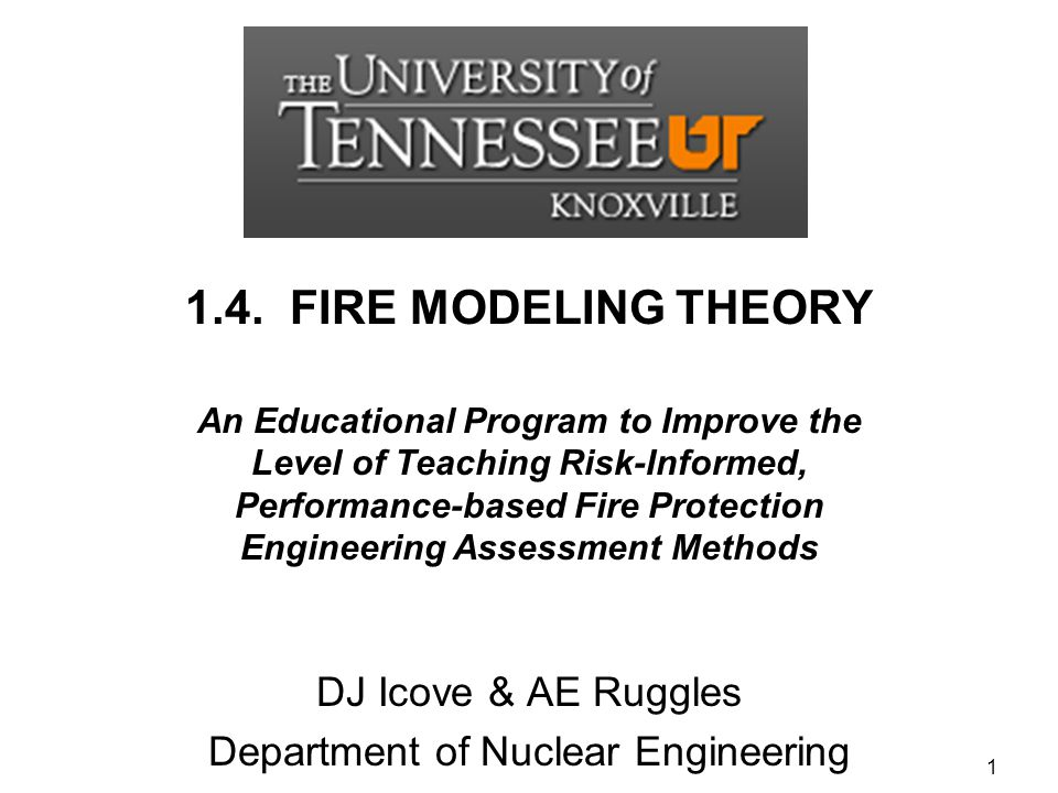 DJ Icove & AE Ruggles Department of Nuclear Engineering