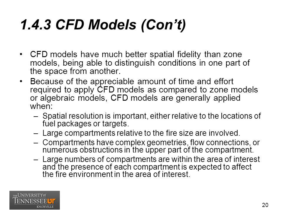 1.4.3 CFD Models (Con't)