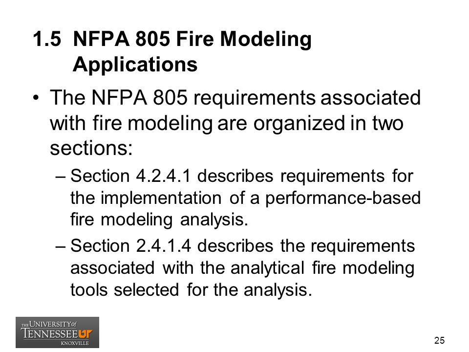 1.5 NFPA 805 Fire Modeling Applications