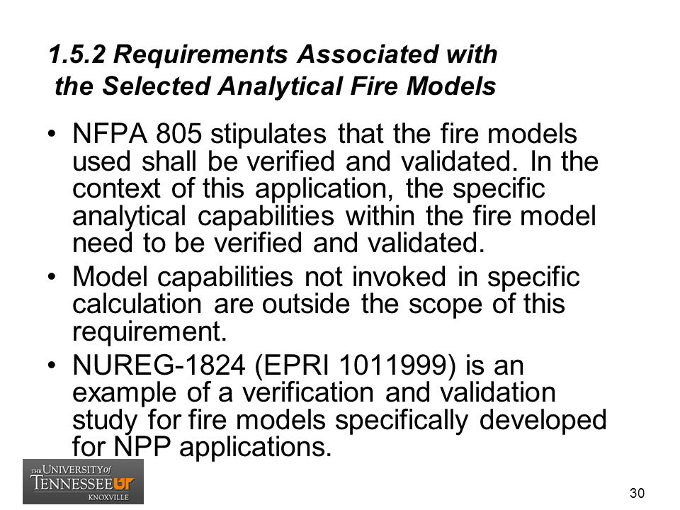 1.5.2 Requirements Associated with the Selected Analytical Fire Models