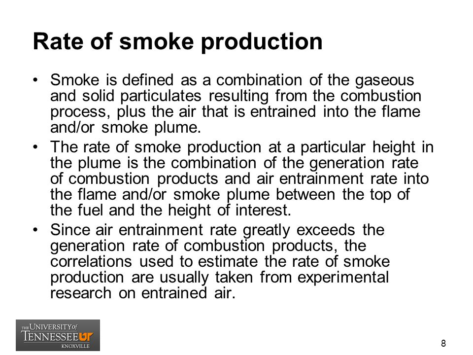 Rate of smoke production