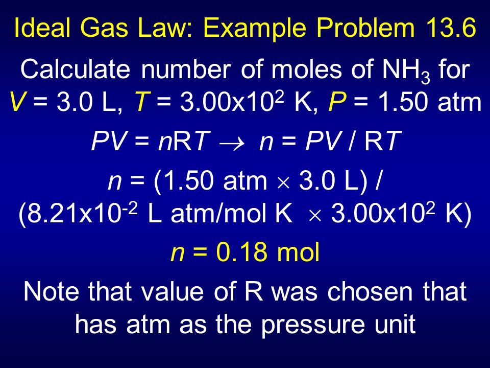 Ideal Gas Law: Example Problem 13.6