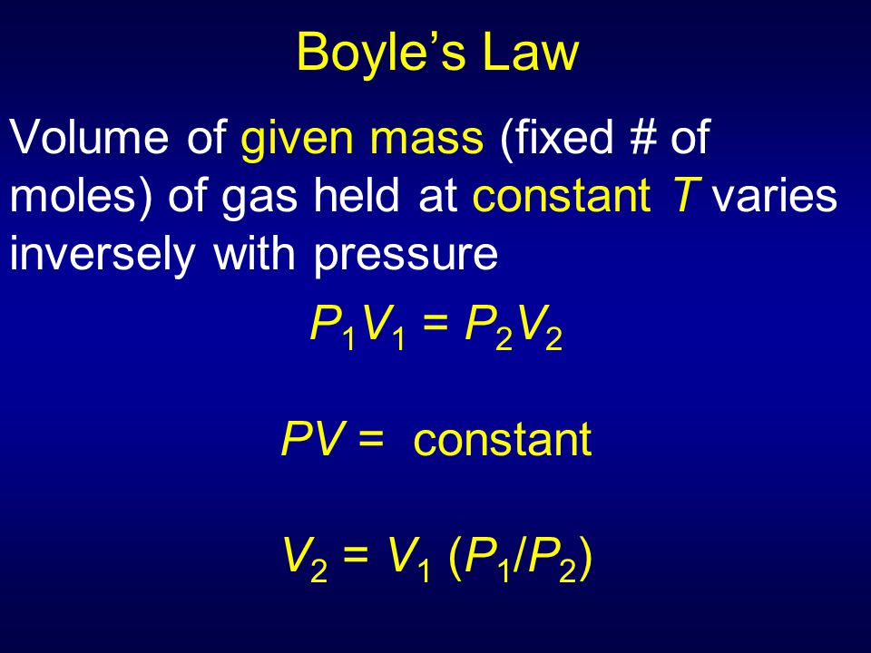 Boyle's Law Volume of given mass (fixed # of moles) of gas held at constant T varies inversely with pressure.