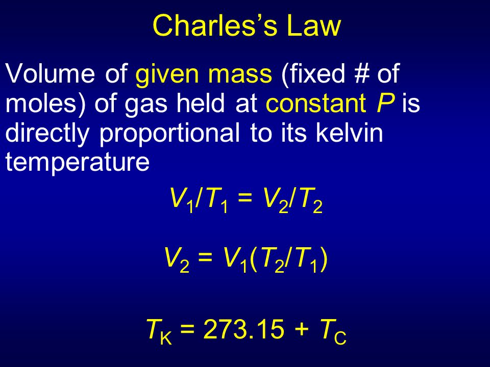 Charles's Law Volume of given mass (fixed # of moles) of gas held at constant P is directly proportional to its kelvin temperature.