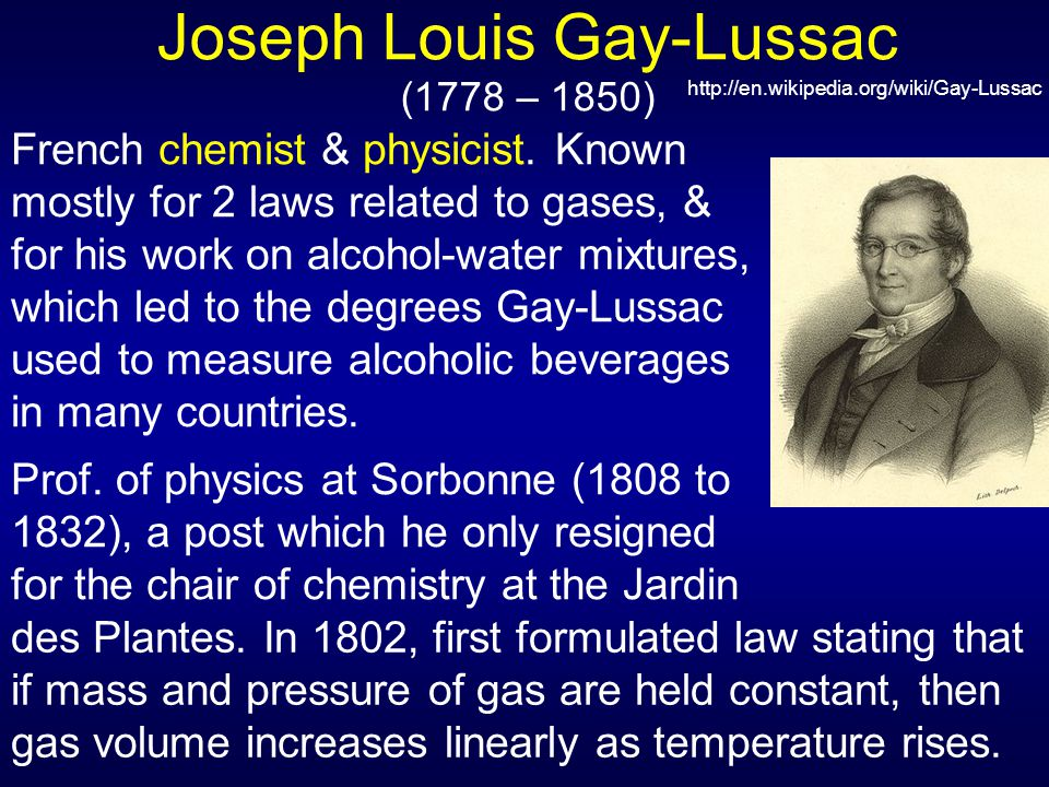 Joseph Louis Gay-Lussac (1778 – 1850)