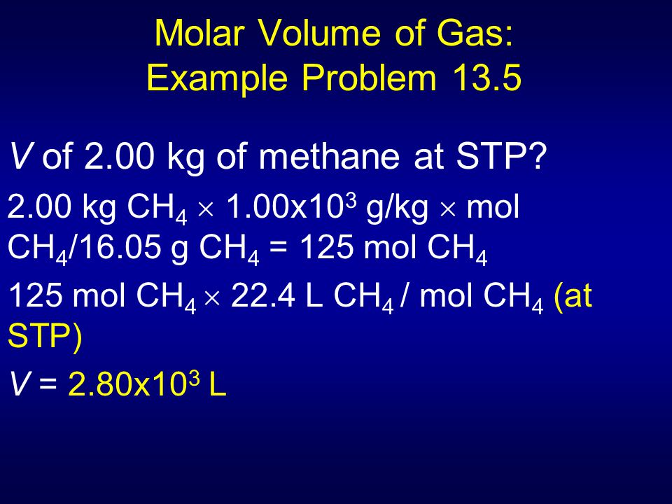 Molar Volume of Gas: Example Problem 13.5