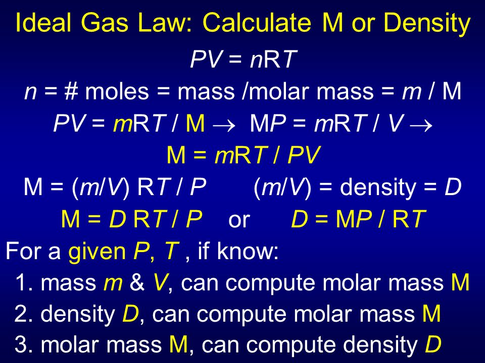 Ideal Gas Law: Calculate M or Density