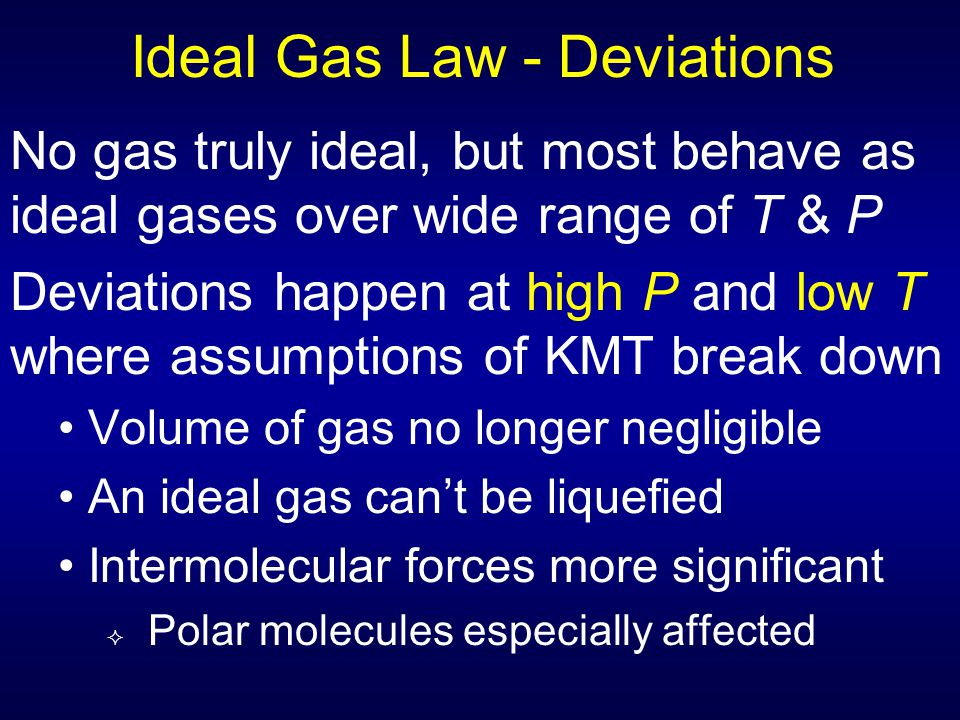 Ideal Gas Law - Deviations