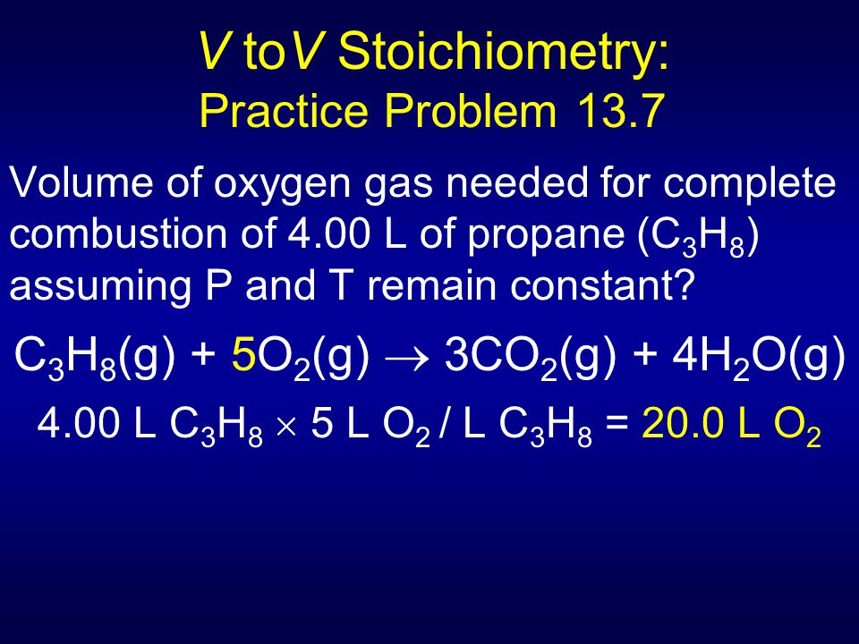 V toV Stoichiometry: Practice Problem 13.7