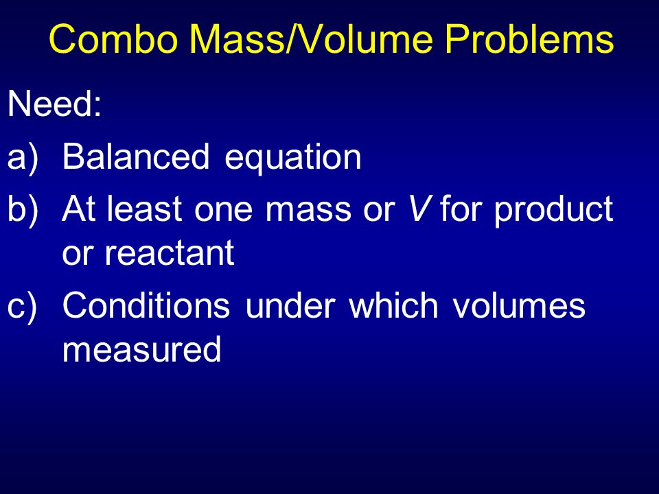 Combo Mass/Volume Problems