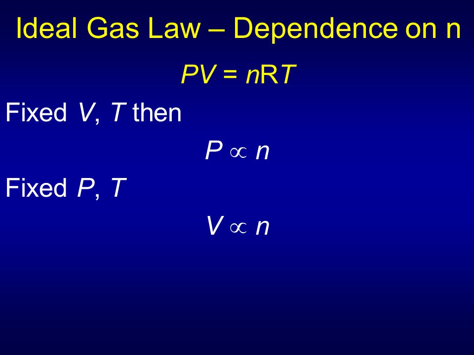 Ideal Gas Law – Dependence on n