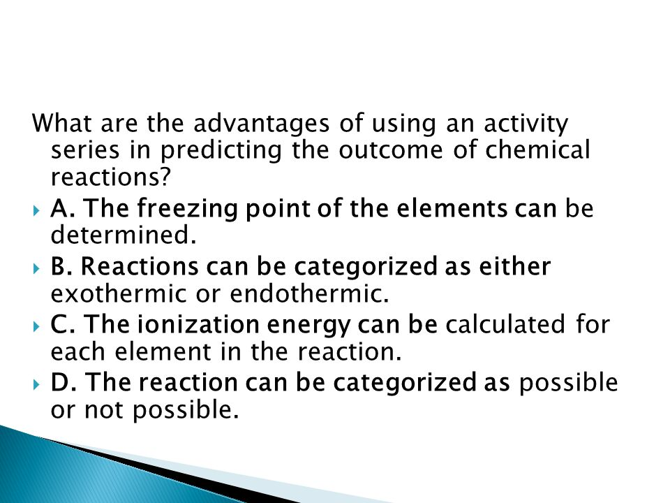 What are the advantages of using an activity series in predicting the outcome of chemical reactions