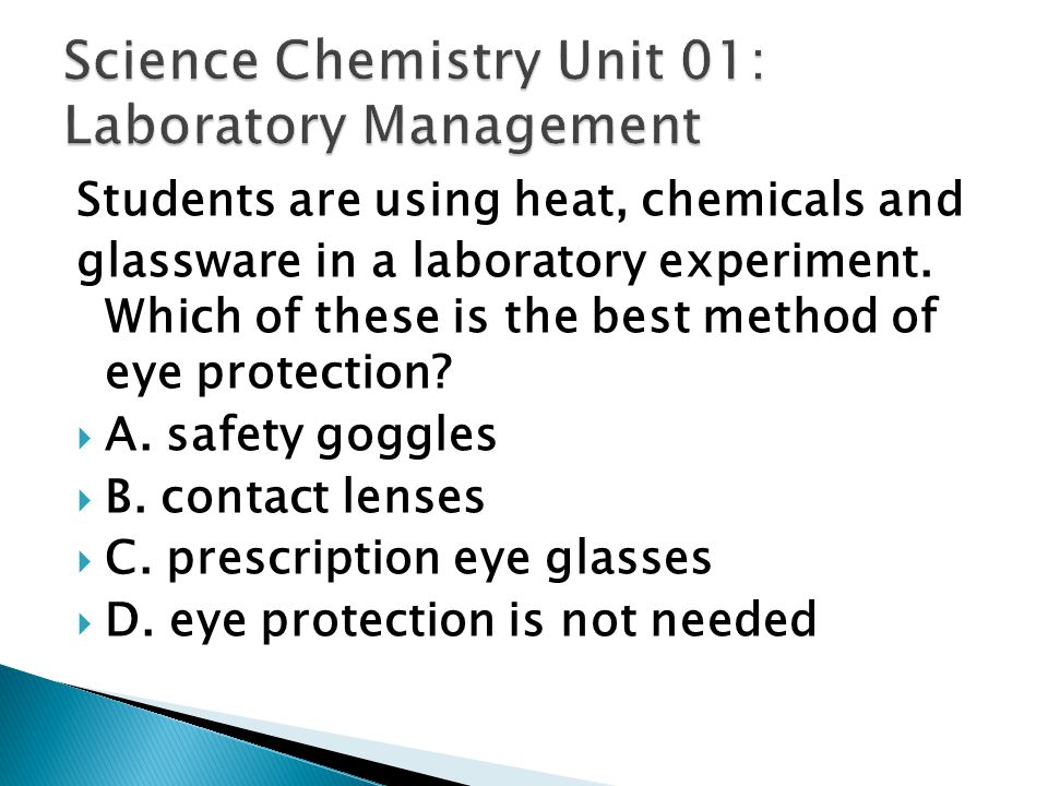 Science Chemistry Unit 01: Laboratory Management