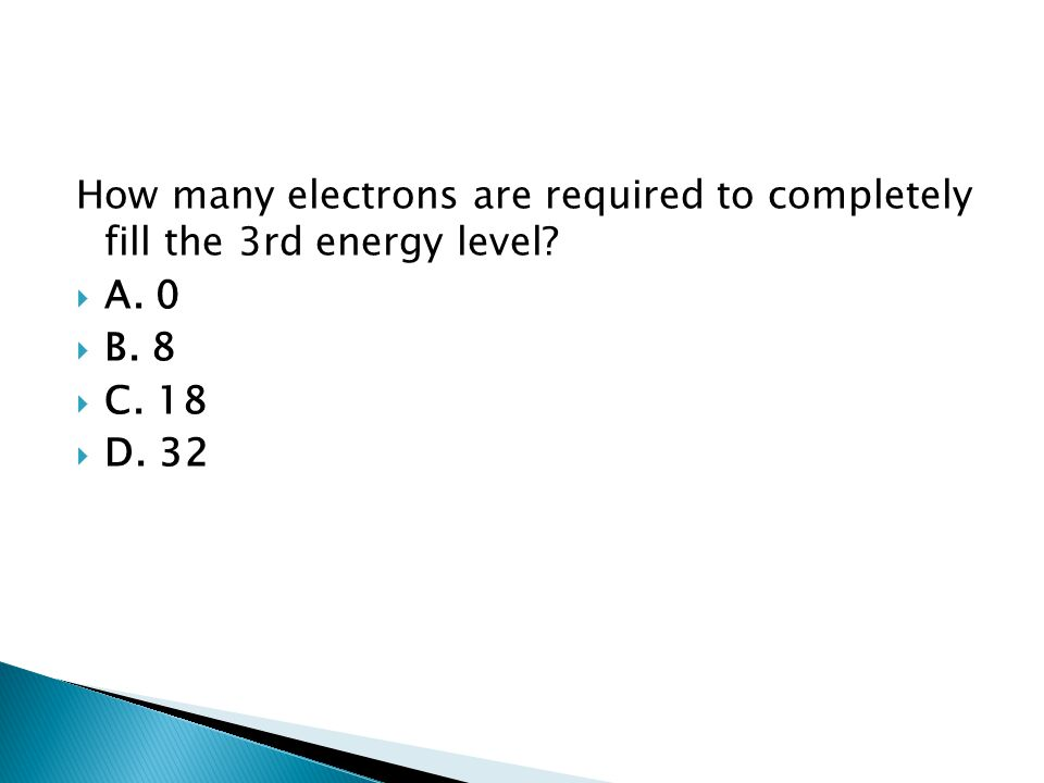 How many electrons are required to completely fill the 3rd energy level