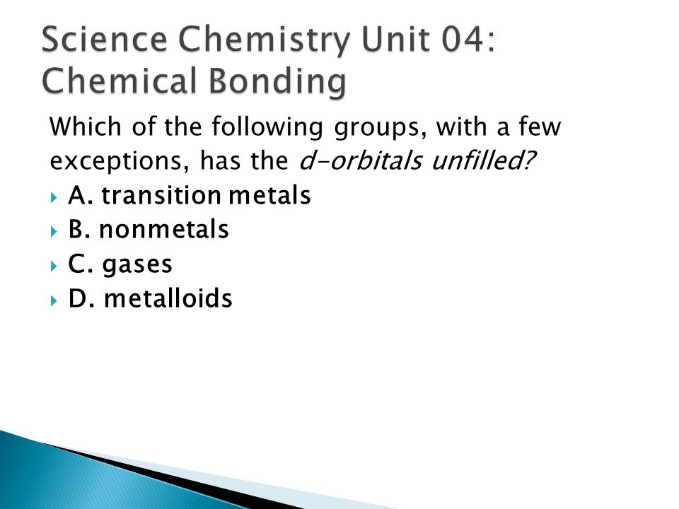 Science Chemistry Unit 04: Chemical Bonding