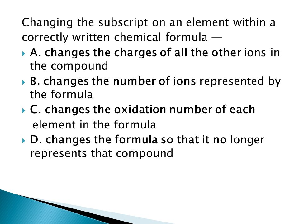 Changing the subscript on an element within a