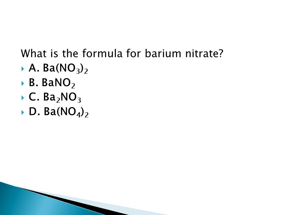 What is the formula for barium nitrate