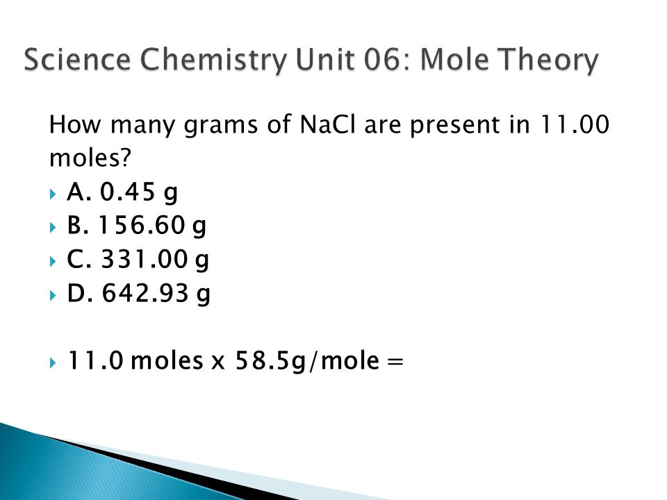 Science Chemistry Unit 06: Mole Theory