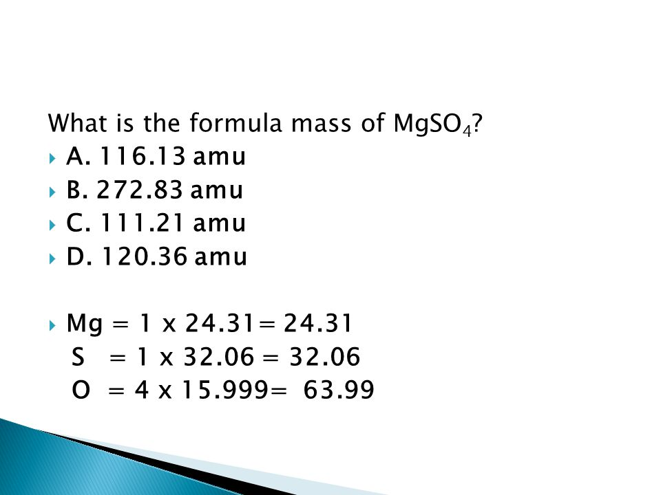 What is the formula mass of MgSO4