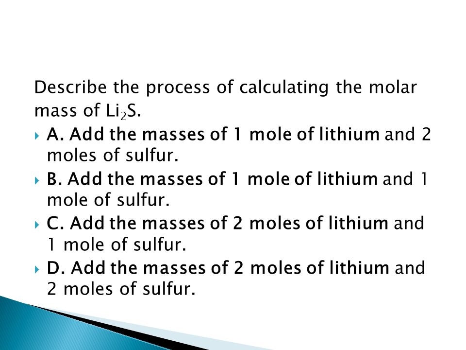 Describe the process of calculating the molar