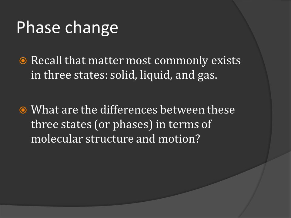 Phase change Recall that matter most commonly exists in three states: solid, liquid, and gas.