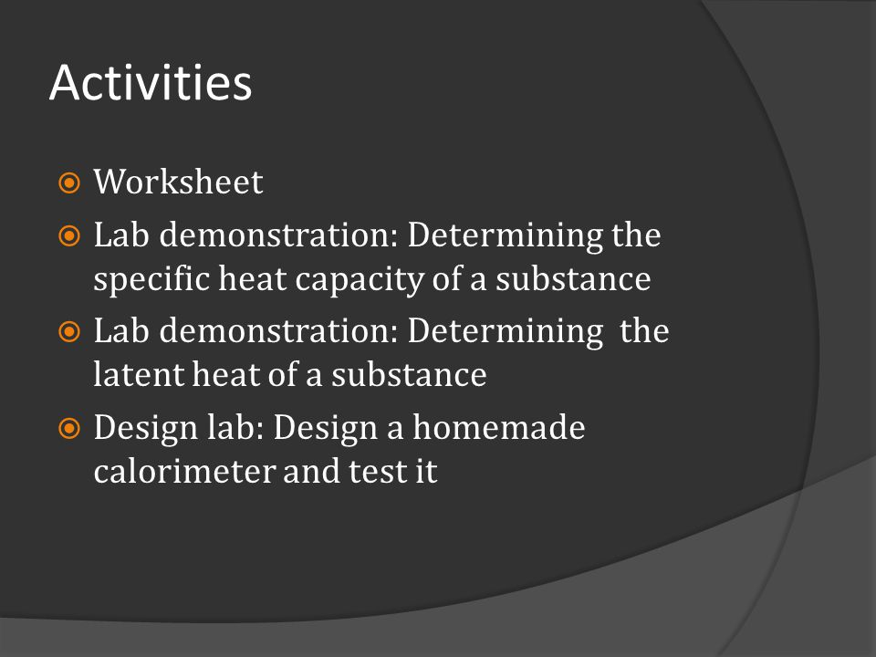 Activities Worksheet. Lab demonstration: Determining the specific heat capacity of a substance.