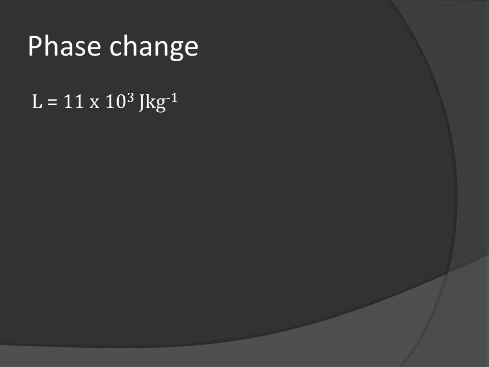 Phase change L = 11 x 103 Jkg-1