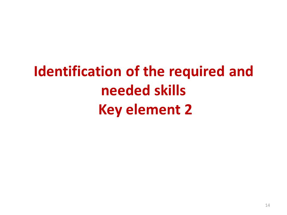 Identification of the required and needed skills Key element 2