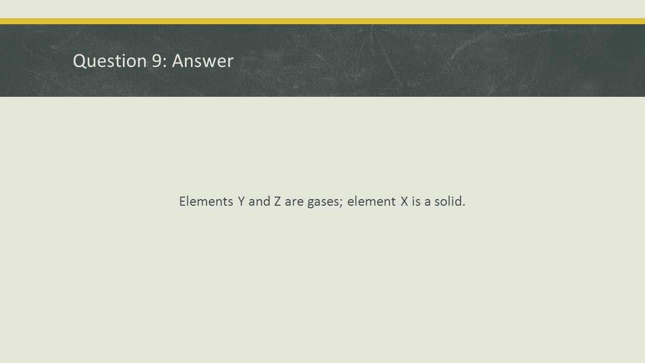 Elements Y and Z are gases; element X is a solid.