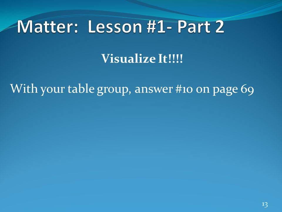 Matter: Lesson #1- Part 2 Visualize It!!!!