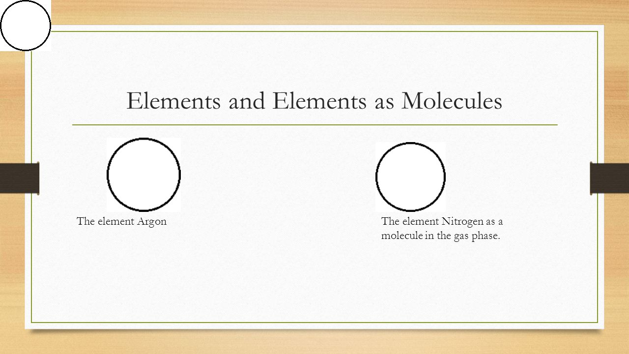 Elements and Elements as Molecules