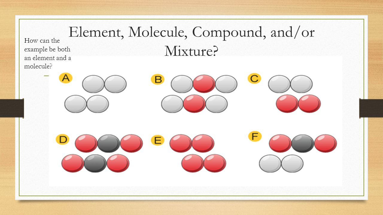 Element, Molecule, Compound, and/or Mixture