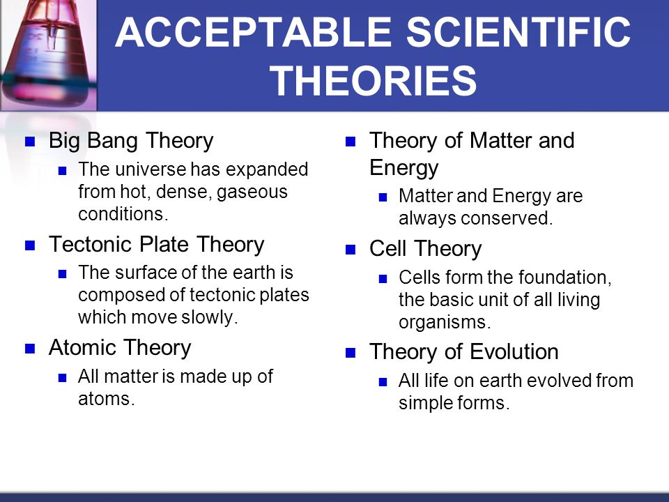 ACCEPTABLE SCIENTIFIC THEORIES