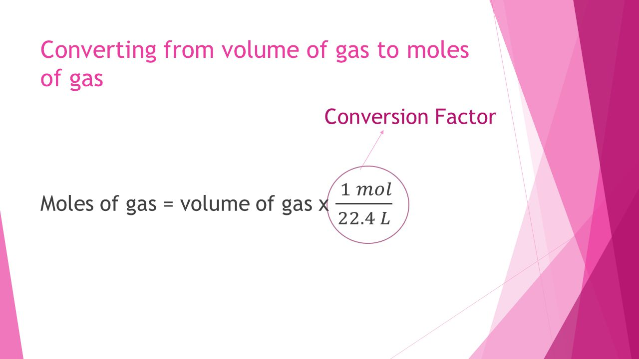 Converting from volume of gas to moles of gas
