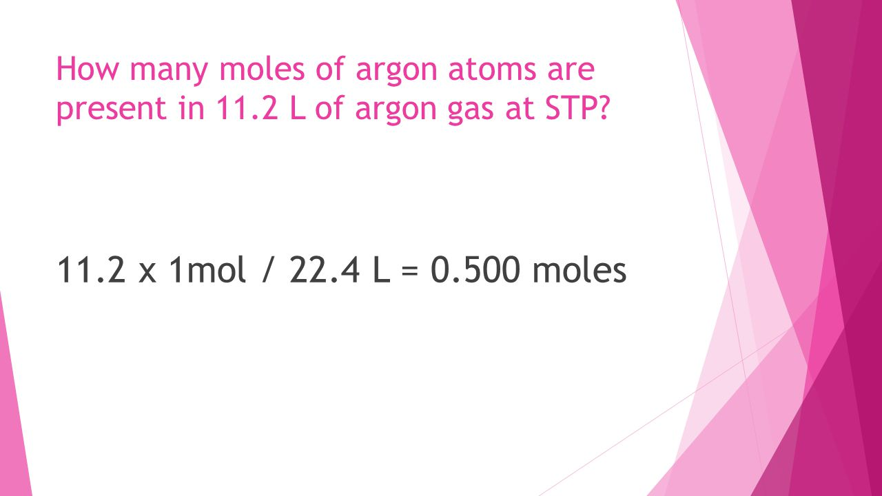 How many moles of argon atoms are present in 11