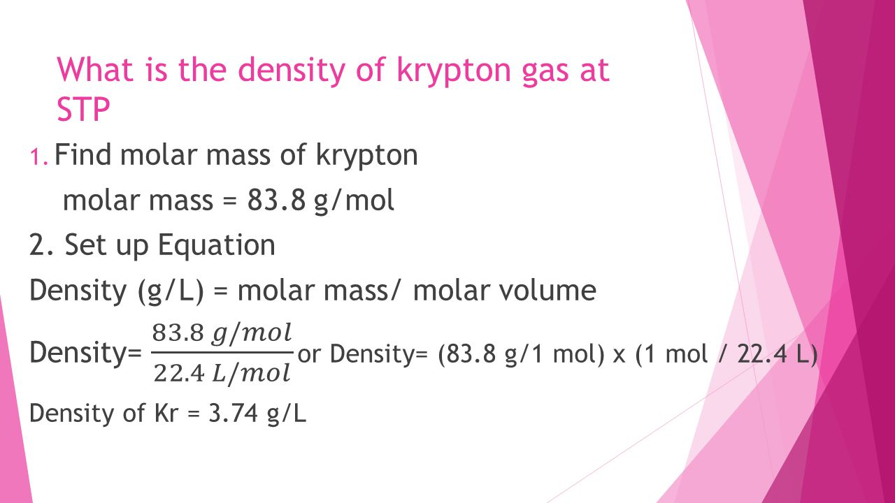 How To Find Molar Mass From Density At Stp Solution For How To
