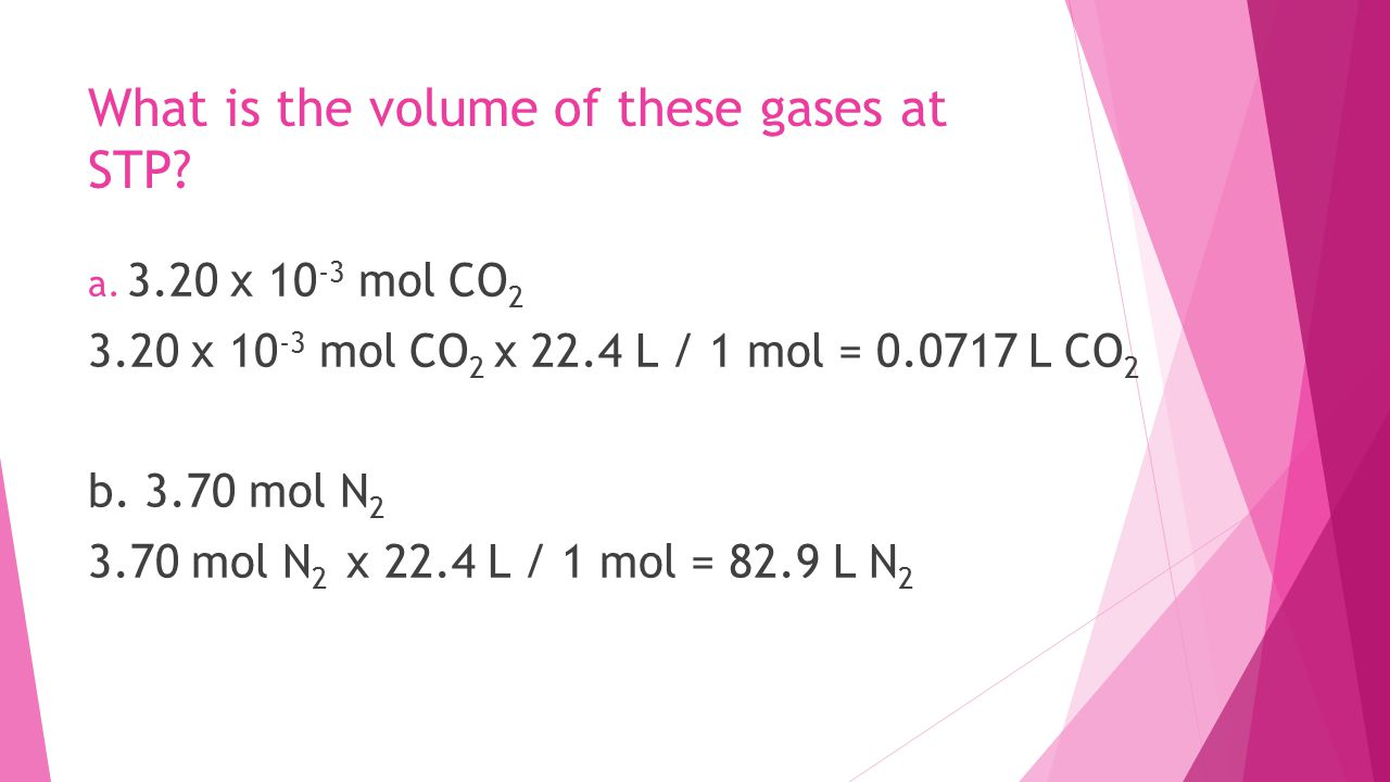What is the volume of these gases at STP