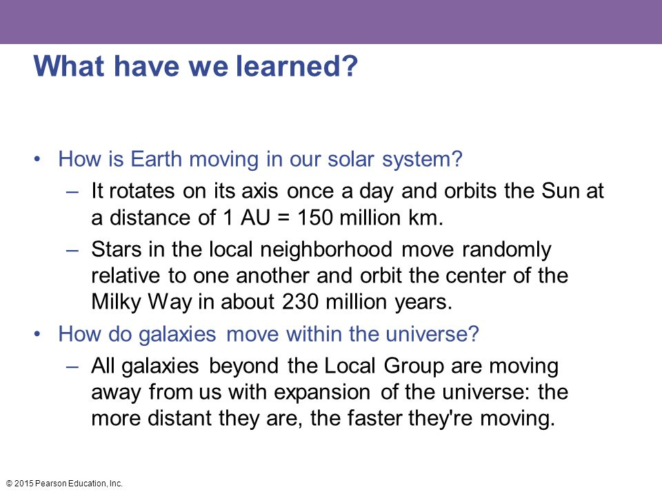 What have we learned How is Earth moving in our solar system