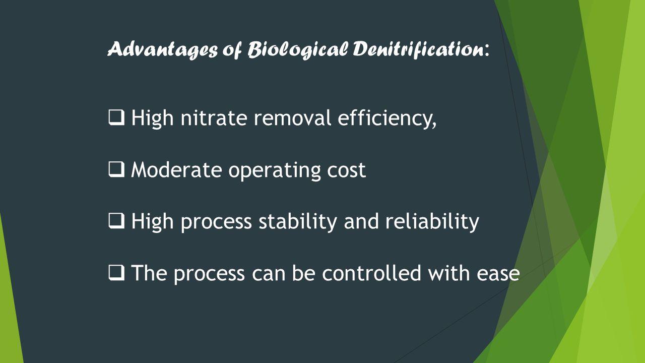 Advantages of Biological Denitrification: