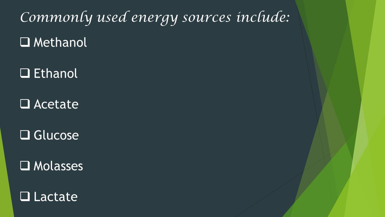 Commonly used energy sources include: